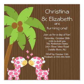 "Twin Girls Safari Jungle Giraffe Kid Birthday 5.25"" Square Invitation Card"