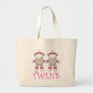 Twin Girls Sock Monkey Tote Bag