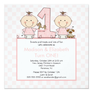 Twin Girls Stick Figure Twins Birthday Invitation