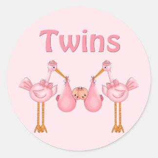 Twin Girls Classic Round Sticker
