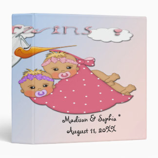 Twin Girls - Stork Keepsake Baby Book Vinyl Binders
