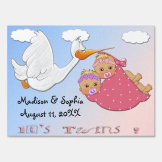Twin Girls - Stork Keepsake Yard Sign