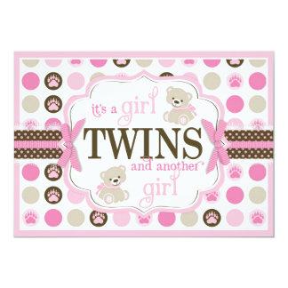 Twin Girls Teddy Bear Baby Shower Pink Card