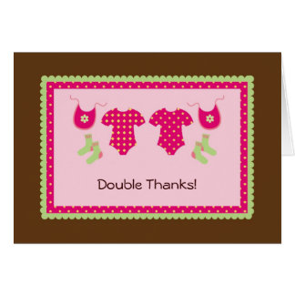 Twin Girls Thank You Card