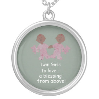 Twin girls to love! round pendant necklace