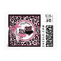 Twin Girls Tutu Cheetah Print Baby Shower Postage