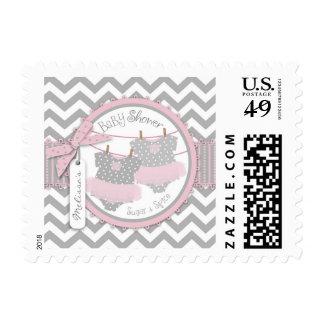 Twin Girls Tutu Chevron Print Baby Shower Stamp