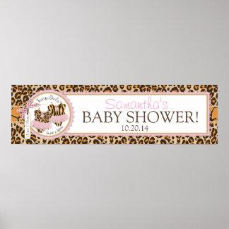 Twin Girls Tutus Cheetah Print Baby Shower Banner