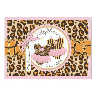 Twin Girls Tutus Cheetah Print Baby Shower Card