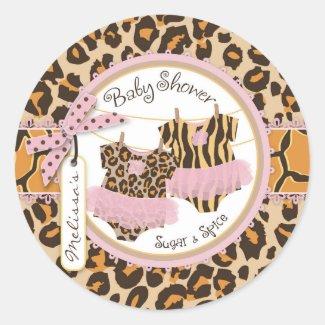 Twin Girls Tutus Cheetah Print Baby Shower Label Classic Round Sticker