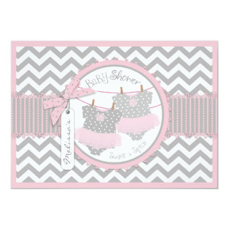 Twin Girls Tutus Chevron Print Baby Shower 5x7 Paper Invitation Card