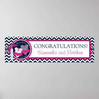 Twin Girls Tutus Chevron Print Baby Shower Banner