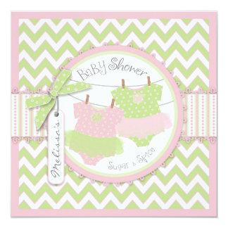 Twin Girls Tutus Chevron Print Baby Shower Card