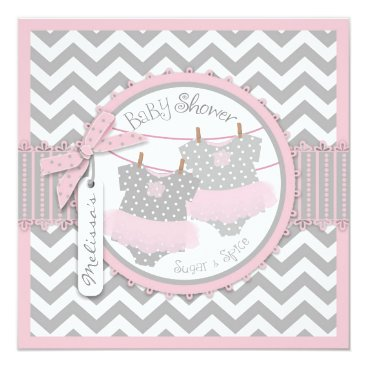 Twin Girls Tutus Chevron Print Baby Shower Card