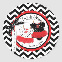 Twin Girls Tutus Chevron Print Thank You Classic Round Sticker