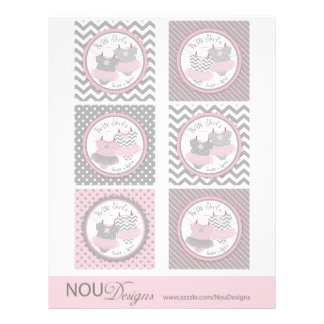"""Twin Girls Tutus Mix Print Large Cupcake Toppers 8.5"""" X 11"""" Flyer"""