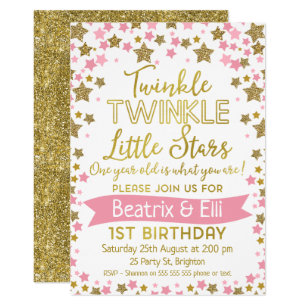 Twin Girls Twinkle Little Star Birthday Invitation