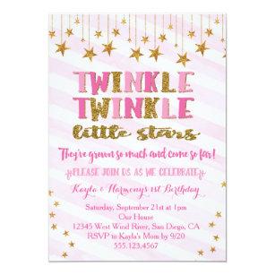 Twins first birthday invitations announcements zazzle twin girls twinkle twinkle little star invitation filmwisefo Gallery