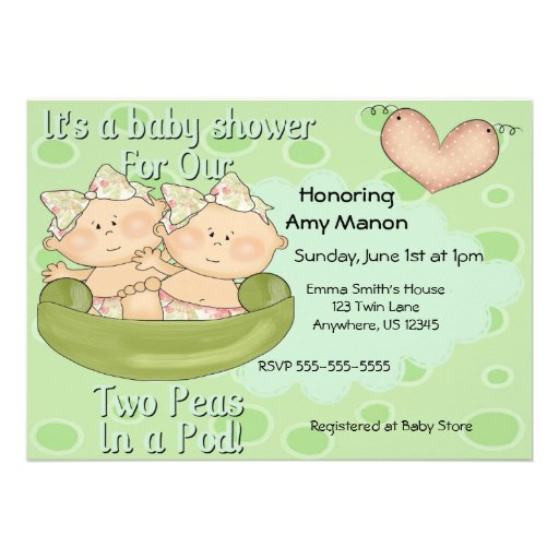 Personalized two peas in a pod invitations custominvitations4u twin girls two peas in pod baby shower invitation filmwisefo Image collections
