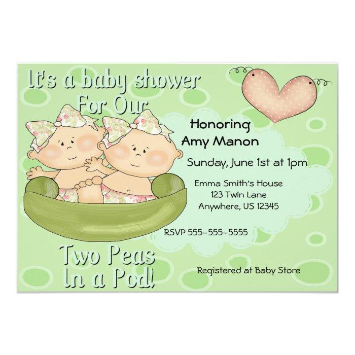 Twin Girls Two Peas In Pod Baby Shower Invitation Zazzle