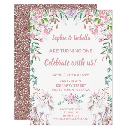 Twin Girls Unicorn Glitter First Birthday Invitation