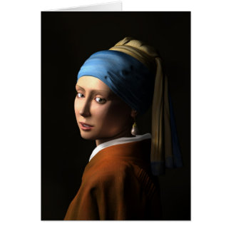 TWIN GIRLS WITH A PEARL EARRING - 3D Computer ART Greeting Card