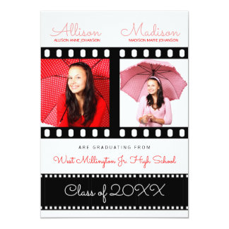 Twin Graduates Graduation Classic Film Theme Red Card