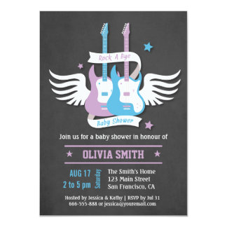 Twin Guitars Rock and Roll Rock a Bye Baby Shower Card