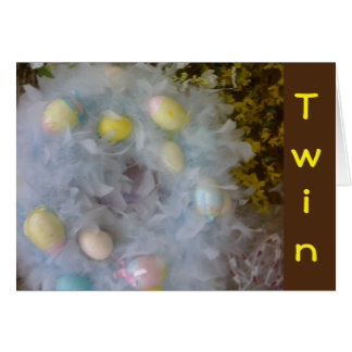 TWIN-HAPPY EASTER HAPPY SPRING WITH PRETTY EGGS CARD