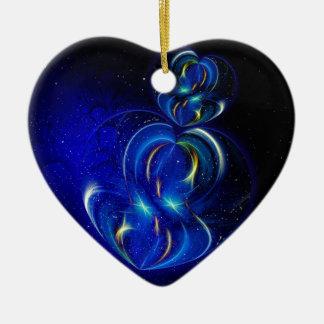twin hearts ceramic ornament