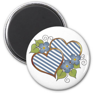 Twin Hearts in Blue & White Stripes 2 Inch Round Magnet