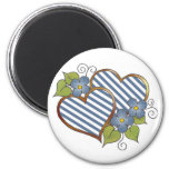 Twin Hearts in Blue & White Stripes Refrigerator Magnets
