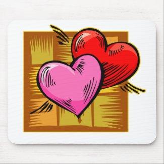 Twin Hearts Love Heart Duo mousepad