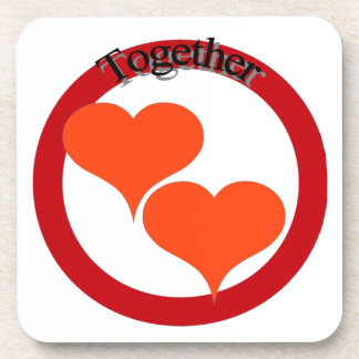 Twin hearts show you have someone to love! beverage coaster