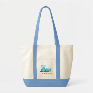 TWIN HOOT OWLS Grocery Tote Bag - add a NAME!