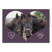 TWIN HORSES VALENTINE CARD