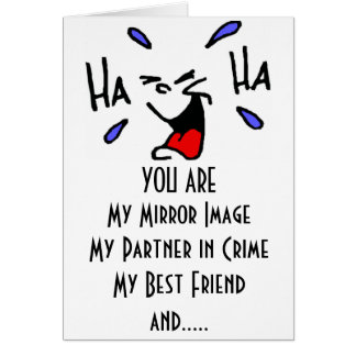 TWIN HUMOR AT IT'S BEST=BRITHDAY WISHES GREETING CARD