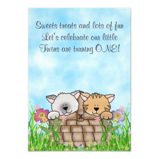 Twin Kittens and Flowers 1st Birthday Invitation