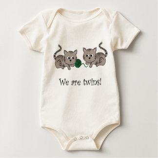 Twin Kittens Baby Bodysuit