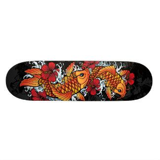 Twin koi skateboard deck