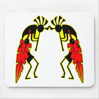 Twin Kokopeli w/ Feathers Mouse Pad