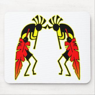 Twin Kokopeli  w/ Feathers Mousepads