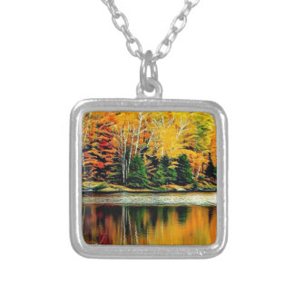 Twin Lakes Colour on St Joseph Island Silver Plated Necklace