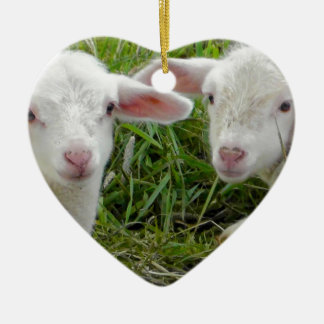Twin Lamb Baby Animal Thinking Of You Double-Sided Heart Ceramic Christmas Ornament