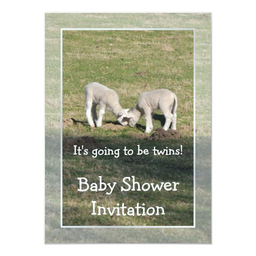 Twin lambs baby shower 4.5x6.25 paper invitation card