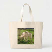 Twin Lambs Grazing Large Tote Bag