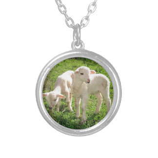 Twin Lambs Grazing Round Pendant Necklace