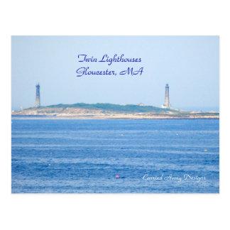 Twin Lighthouse Postcard