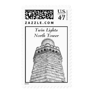 Twin Lights North II Sketch Postage Stamp