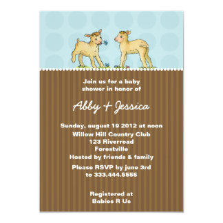 Twin Little Lambs Baby Shower Invitations